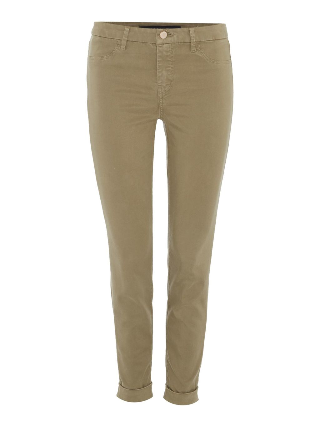 Anja Ankle Cuff Trouser, Brown - pattern: plain; waist: mid/regular rise; predominant colour: khaki; occasions: casual, creative work; length: ankle length; fibres: cotton - stretch; fit: slim leg; pattern type: fabric; texture group: woven light midweight; style: standard; season: s/s 2016; wardrobe: basic
