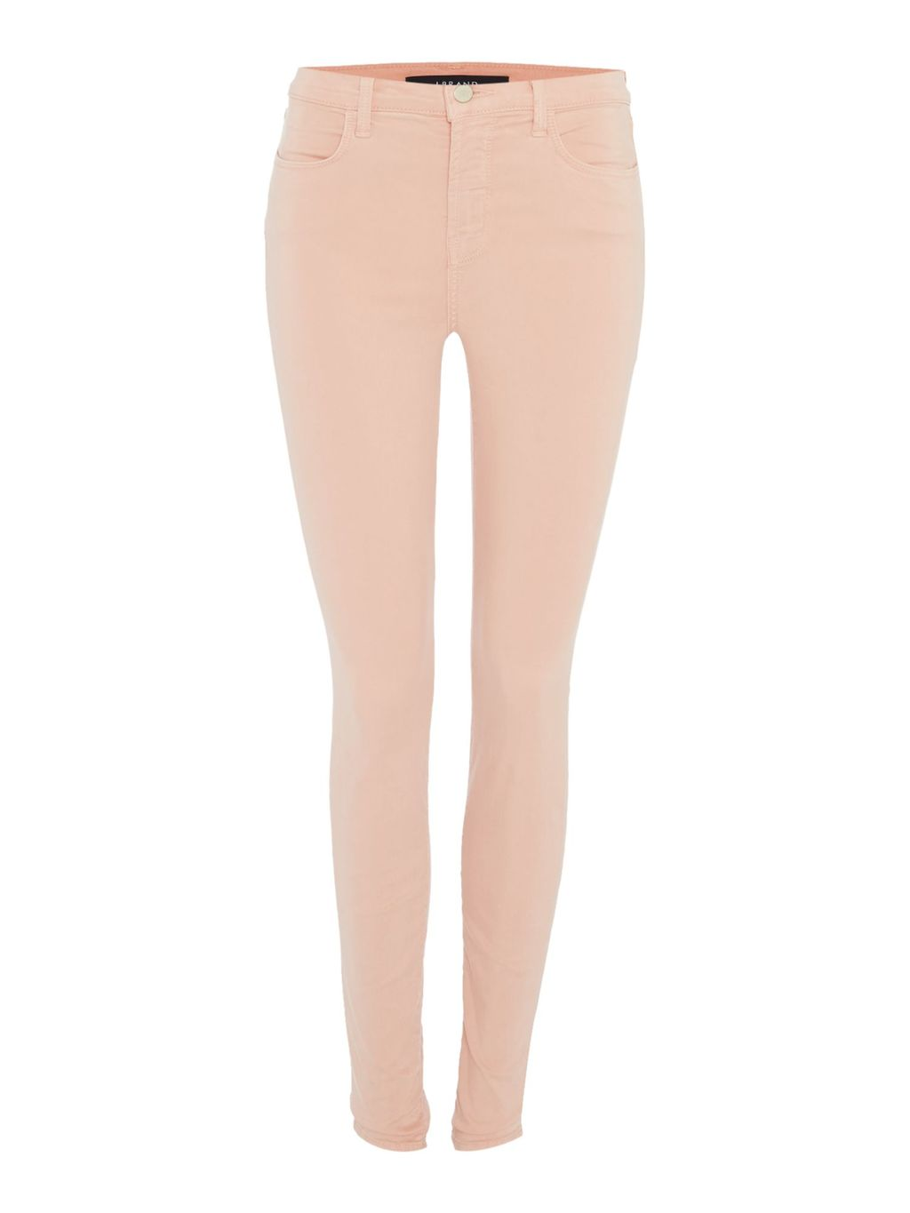 Maria High Rise Skinny Luxe Sateen Jeans, Pink - style: skinny leg; length: standard; pattern: plain; waist: high rise; pocket detail: traditional 5 pocket; predominant colour: blush; occasions: casual; fibres: cotton - stretch; texture group: denim; pattern type: fabric; season: s/s 2016; wardrobe: highlight