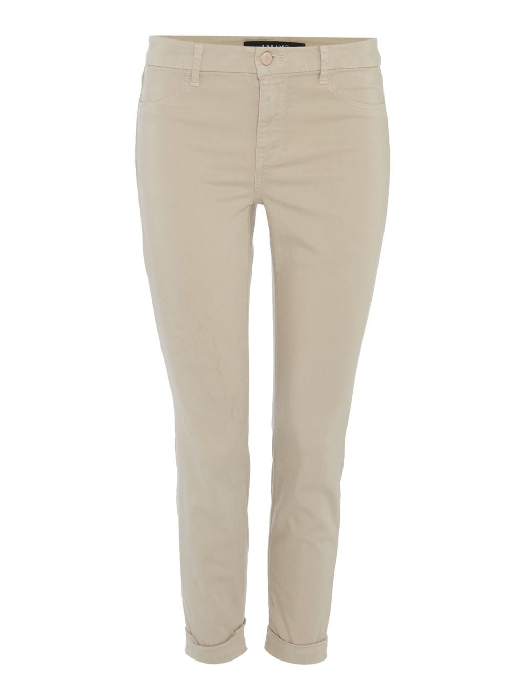 Anja Ankle Cuff Trouser, Beige - pattern: plain; waist: mid/regular rise; predominant colour: stone; occasions: casual, creative work; length: ankle length; fibres: cotton - stretch; fit: slim leg; pattern type: fabric; texture group: woven light midweight; style: standard; season: s/s 2016; wardrobe: basic