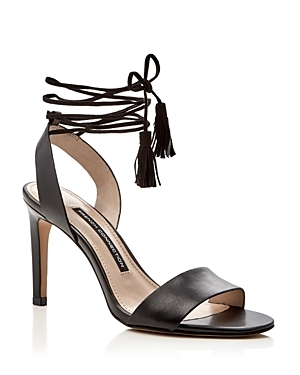 Liesel Lace Up High Heel Sandals - predominant colour: black; occasions: evening, occasion; material: leather; embellishment: tassels; ankle detail: ankle tie; heel: stiletto; toe: open toe/peeptoe; style: strappy; finish: plain; pattern: plain; heel height: very high; season: s/s 2016