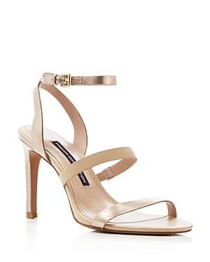 Lilly Metallic Strappy High Heel Sandals - predominant colour: gold; occasions: evening, occasion; material: faux leather; heel height: high; ankle detail: ankle strap; heel: stiletto; toe: open toe/peeptoe; style: strappy; finish: metallic; pattern: plain; season: s/s 2016; wardrobe: event