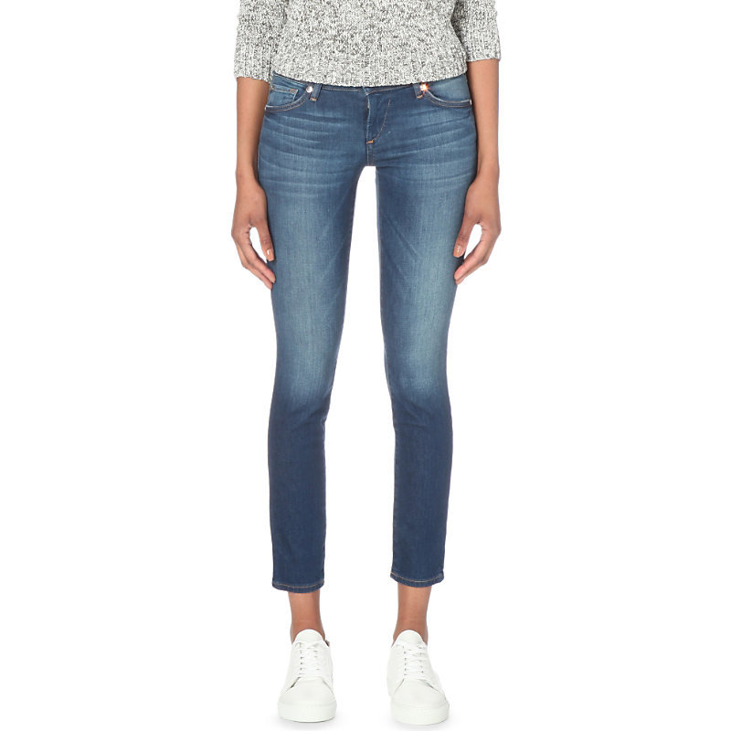 Casey Super Skinny Low Rise Jeans, Women's, Crystal Springs - style: skinny leg; length: standard; pattern: plain; pocket detail: traditional 5 pocket; waist: mid/regular rise; predominant colour: denim; occasions: casual; fibres: cotton - stretch; jeans detail: whiskering, shading down centre of thigh; texture group: denim; pattern type: fabric; season: s/s 2016