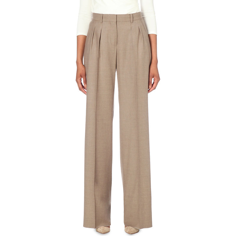 Pleated Wide Leg Wool Trousers, Women's, Turtle Dove - length: standard; pattern: plain; waist: mid/regular rise; predominant colour: taupe; occasions: casual, creative work; fibres: wool - 100%; fit: wide leg; pattern type: fabric; texture group: woven light midweight; style: standard; season: s/s 2016