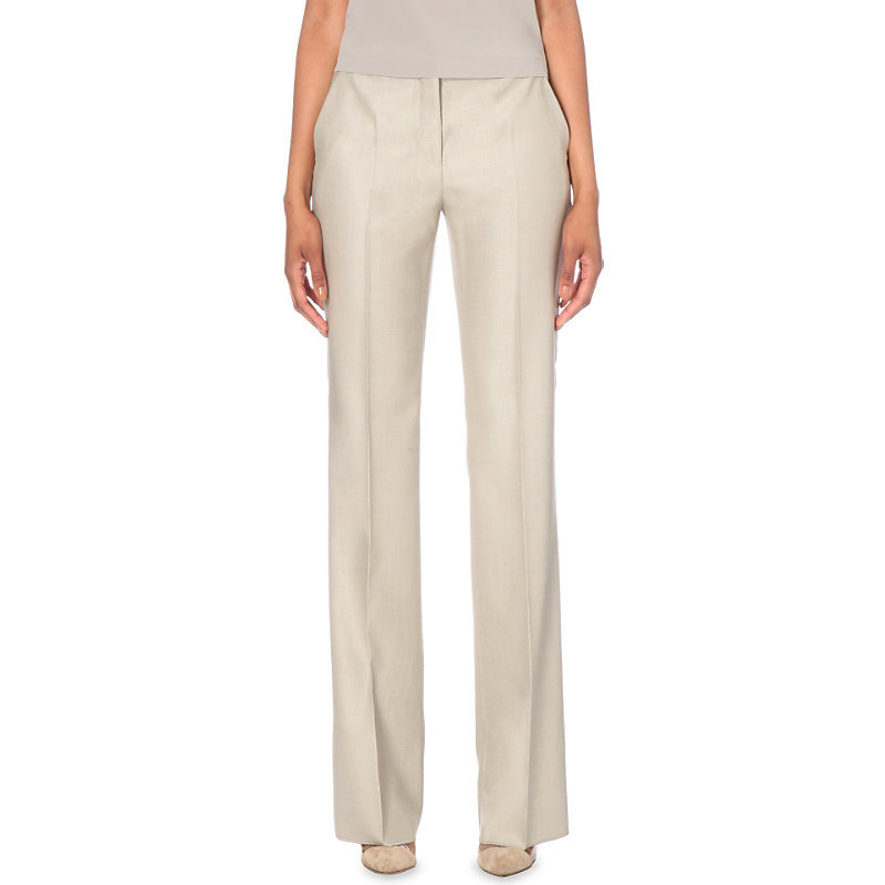 Alessia Wide Leg Trousers, Women's, Beige - length: standard; pattern: plain; waist: mid/regular rise; predominant colour: stone; occasions: casual, creative work; fibres: wool - 100%; fit: wide leg; pattern type: fabric; texture group: woven light midweight; style: standard; season: s/s 2016; wardrobe: basic