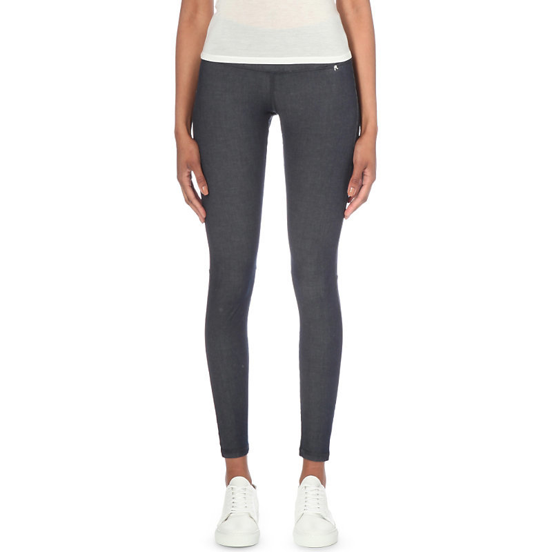 Hyperskin Skinny High Rise Jeggings, Women's, Size: Xs, Blue Shade - length: standard; pattern: plain; style: jeggings; waist: mid/regular rise; predominant colour: navy; occasions: casual; fibres: cotton - stretch; jeans detail: dark wash; texture group: denim; pattern type: fabric; season: s/s 2016; wardrobe: basic
