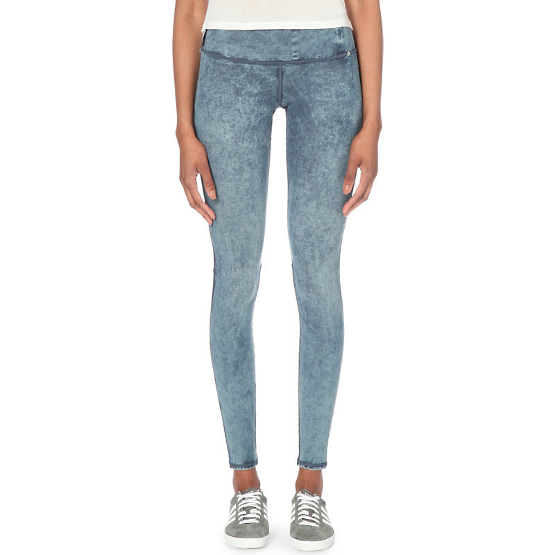 Hyperskin Skinny High Rise Jeggings, Women's, Size: Small, Marble - length: standard; pattern: plain; style: jeggings; waist: mid/regular rise; predominant colour: pale blue; occasions: casual; fibres: cotton - stretch; jeans detail: washed/faded; texture group: denim; pattern type: fabric; season: s/s 2016; wardrobe: basic