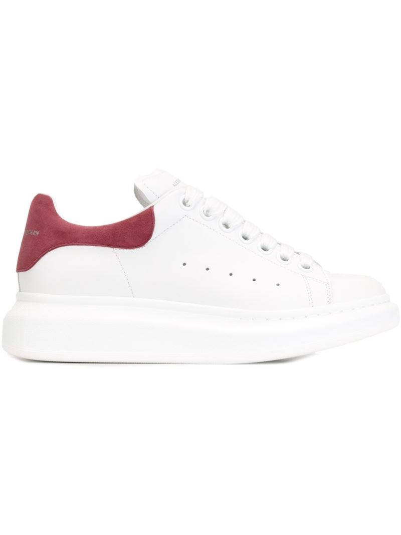 Extended Sole Sneakers, Women's, Size: 37, White - predominant colour: white; secondary colour: burgundy; occasions: casual, activity; material: leather; heel height: flat; toe: round toe; style: trainers; finish: plain; pattern: plain; shoe detail: platform; season: s/s 2016