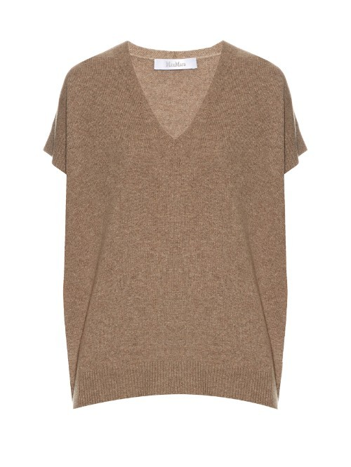 Kadiak Sweater - neckline: v-neck; pattern: plain; length: below the bottom; style: t-shirt; predominant colour: camel; occasions: casual, creative work; fit: loose; fibres: cashmere - 100%; sleeve length: short sleeve; sleeve style: standard; texture group: knits/crochet; pattern type: knitted - big stitch; season: s/s 2016; wardrobe: basic
