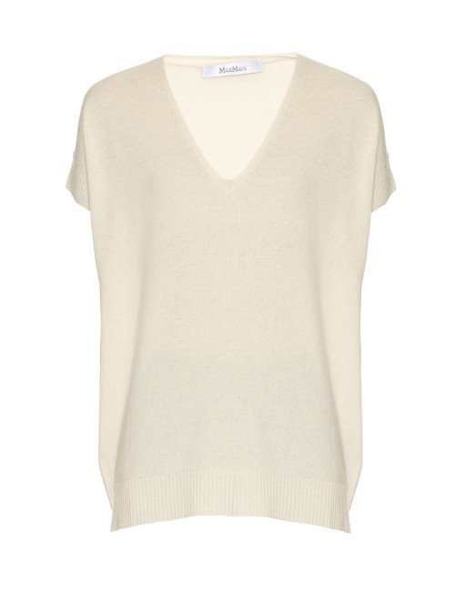 Kadiak Sweater - neckline: v-neck; sleeve style: capped; pattern: plain; length: below the bottom; style: standard; predominant colour: ivory/cream; occasions: casual, creative work; fit: loose; fibres: cashmere - 100%; sleeve length: short sleeve; texture group: knits/crochet; pattern type: knitted - fine stitch; season: s/s 2016; wardrobe: investment