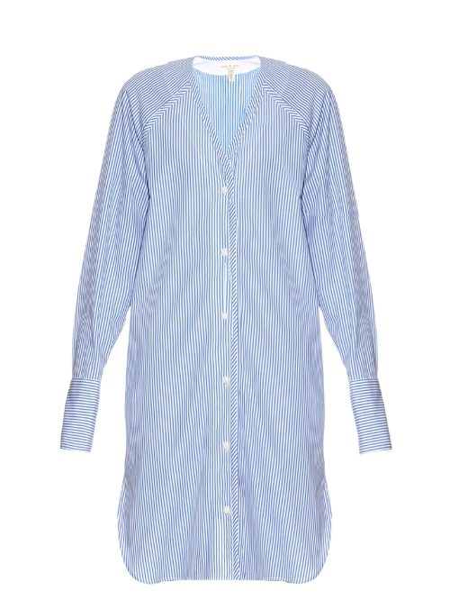 Shults Pinstriped Shirtdress - style: shirt; neckline: round neck; pattern: pinstripe; secondary colour: white; predominant colour: royal blue; occasions: casual; length: just above the knee; fit: body skimming; fibres: cotton - 100%; sleeve length: long sleeve; sleeve style: standard; pattern type: fabric; texture group: other - light to midweight; season: s/s 2016; wardrobe: highlight