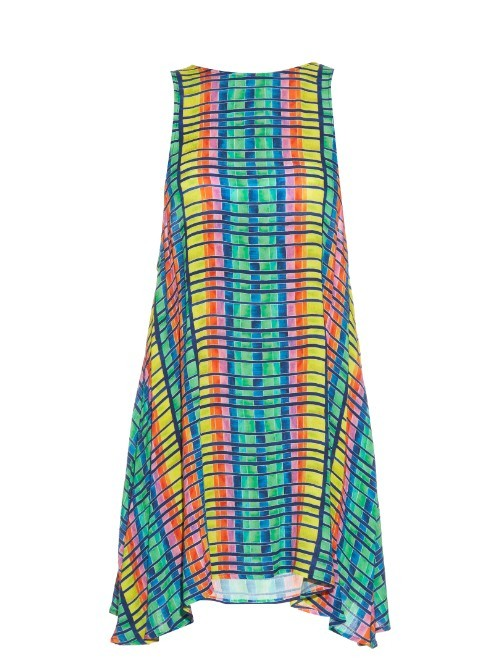 Flight Rainbow Print Crepon Sleeveless Dress - length: mid thigh; fit: loose; sleeve style: sleeveless; predominant colour: turquoise; secondary colour: lime; style: asymmetric (hem); fibres: viscose/rayon - 100%; neckline: crew; sleeve length: sleeveless; occasions: holiday; pattern type: fabric; pattern size: standard; pattern: patterned/print; texture group: other - light to midweight; multicoloured: multicoloured; season: s/s 2016; wardrobe: holiday