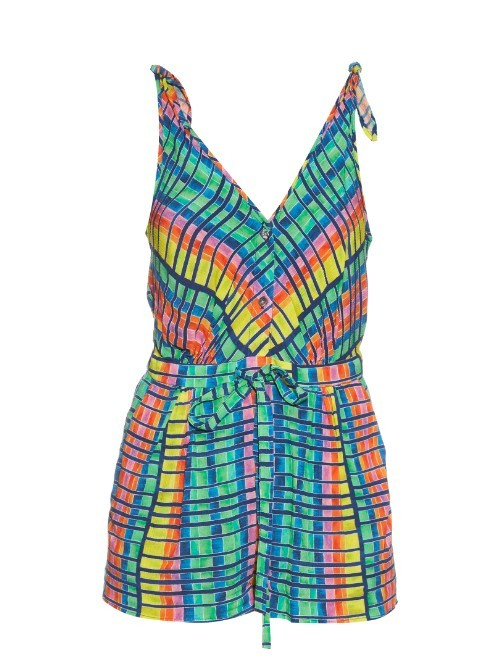 Flight Rainbow Print Crepon Playsuit - neckline: v-neck; fit: fitted at waist; sleeve style: sleeveless; waist detail: belted waist/tie at waist/drawstring; length: short shorts; secondary colour: pink; predominant colour: turquoise; occasions: casual, holiday; fibres: viscose/rayon - 100%; sleeve length: sleeveless; style: playsuit; pattern type: fabric; pattern size: standard; pattern: patterned/print; texture group: other - light to midweight; multicoloured: multicoloured; season: s/s 2016; wardrobe: holiday