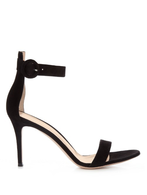 Portofino Suede Sandals - predominant colour: black; occasions: evening, occasion; material: suede; heel height: high; ankle detail: ankle strap; heel: stiletto; toe: open toe/peeptoe; style: standard; finish: plain; pattern: plain; season: s/s 2016; wardrobe: event