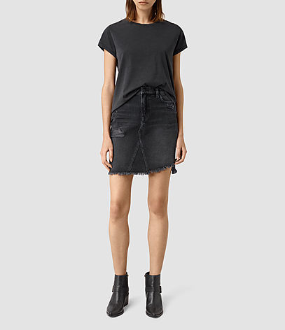 Distressed Denim Skirt - length: mid thigh; pattern: plain; style: pencil; fit: tailored/fitted; waist: mid/regular rise; predominant colour: black; occasions: casual; fibres: cotton - 100%; texture group: denim; pattern type: fabric; season: s/s 2016; wardrobe: basic