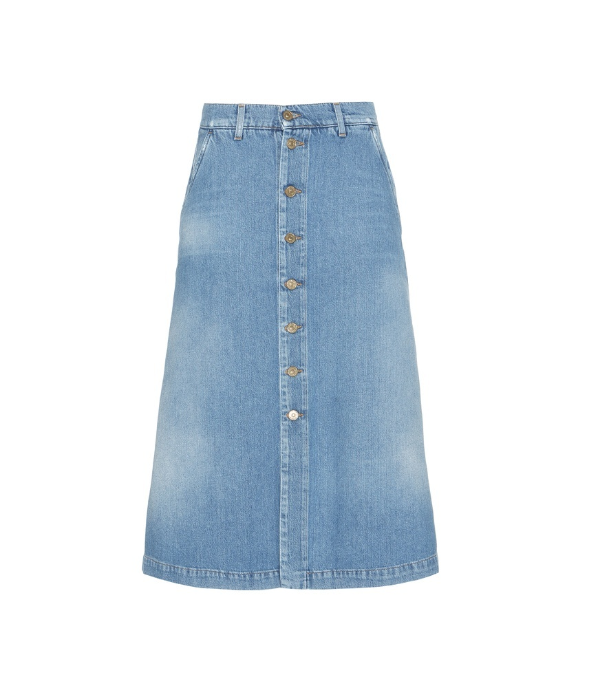 Denim Skirt - length: below the knee; pattern: plain; fit: loose/voluminous; waist: high rise; predominant colour: denim; occasions: casual, creative work; style: a-line; fibres: cotton - 100%; texture group: denim; pattern type: fabric; season: s/s 2016; wardrobe: basic