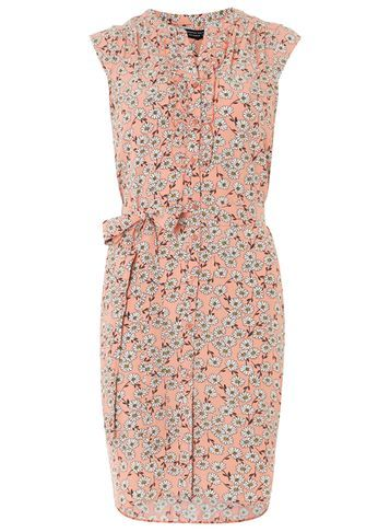 Womens Coral Ditsy Sleeveless Shirt Dress Pink - style: shirt; fit: tailored/fitted; sleeve style: sleeveless; waist detail: belted waist/tie at waist/drawstring; secondary colour: diva blue; predominant colour: nude; length: just above the knee; neckline: collarstand; fibres: viscose/rayon - 100%; sleeve length: sleeveless; texture group: crepes; pattern type: fabric; pattern size: standard; pattern: patterned/print; occasions: creative work; multicoloured: multicoloured; season: s/s 2016