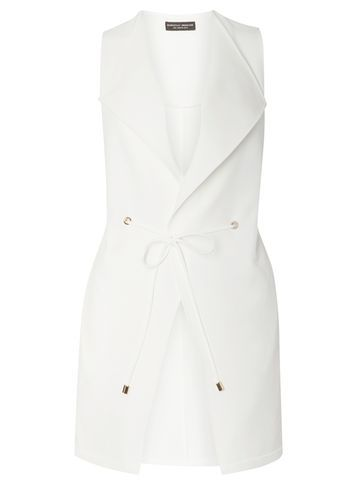 Womens White Eyelet Sleeveless Jacket White - pattern: plain; sleeve style: sleeveless; style: double breasted military jacket; length: below the bottom; collar: standard lapel/rever collar; predominant colour: white; fit: tailored/fitted; fibres: polyester/polyamide - stretch; sleeve length: sleeveless; collar break: low/open; pattern type: fabric; texture group: other - light to midweight; occasions: creative work; season: s/s 2016; wardrobe: highlight