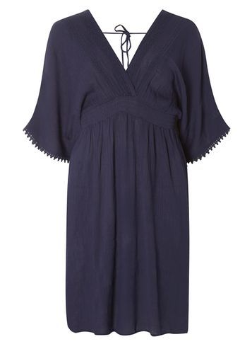 Womens Navy Kimono Sleeve Midi Dress Blue - neckline: low v-neck; pattern: plain; style: kaftan; predominant colour: navy; length: just above the knee; fit: body skimming; fibres: cotton - 100%; sleeve length: short sleeve; sleeve style: standard; occasions: holiday; pattern type: fabric; texture group: other - light to midweight; season: s/s 2016; wardrobe: holiday
