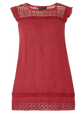 Womens Rose Lace Yoke Tunic Pink - sleeve style: capped; pattern: plain; length: below the bottom; style: tunic; predominant colour: burgundy; occasions: casual; fibres: cotton - 100%; fit: straight cut; neckline: crew; hip detail: contrast fabric/print detail at hip; sleeve length: short sleeve; texture group: cotton feel fabrics; pattern type: fabric; embellishment: lace; shoulder detail: sheer at shoulder; season: s/s 2016; wardrobe: highlight