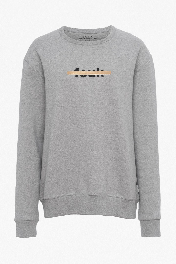 Fcuk Strike Logo Sweatshirt Grey Mel - neckline: round neck; length: below the bottom; style: sweat top; predominant colour: light grey; occasions: casual, activity; fibres: cotton - 100%; fit: body skimming; sleeve length: long sleeve; sleeve style: standard; pattern type: fabric; pattern size: light/subtle; texture group: jersey - stretchy/drapey; pattern: graphic/slogan; season: s/s 2016