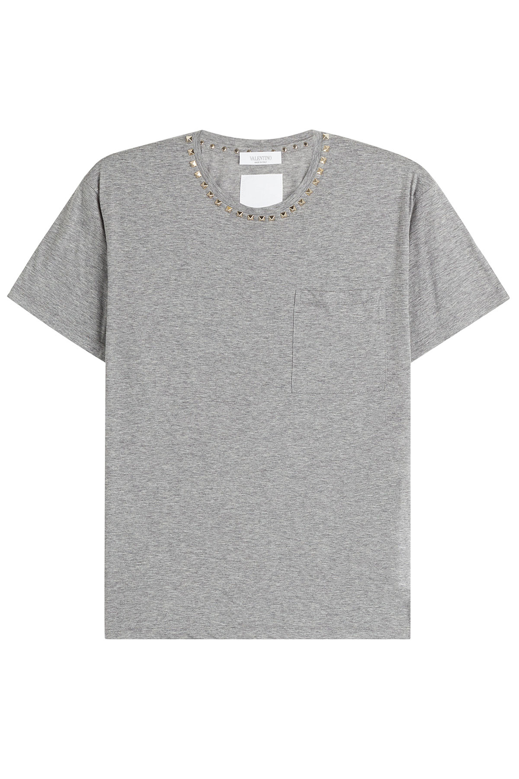 Rockstud Untitled Cotton T Shirt Grey - style: t-shirt; predominant colour: mid grey; occasions: casual; length: standard; fibres: cotton - stretch; fit: straight cut; neckline: crew; sleeve length: short sleeve; sleeve style: standard; pattern type: fabric; texture group: jersey - stretchy/drapey; embellishment: studs; pattern: marl; season: s/s 2016; wardrobe: highlight