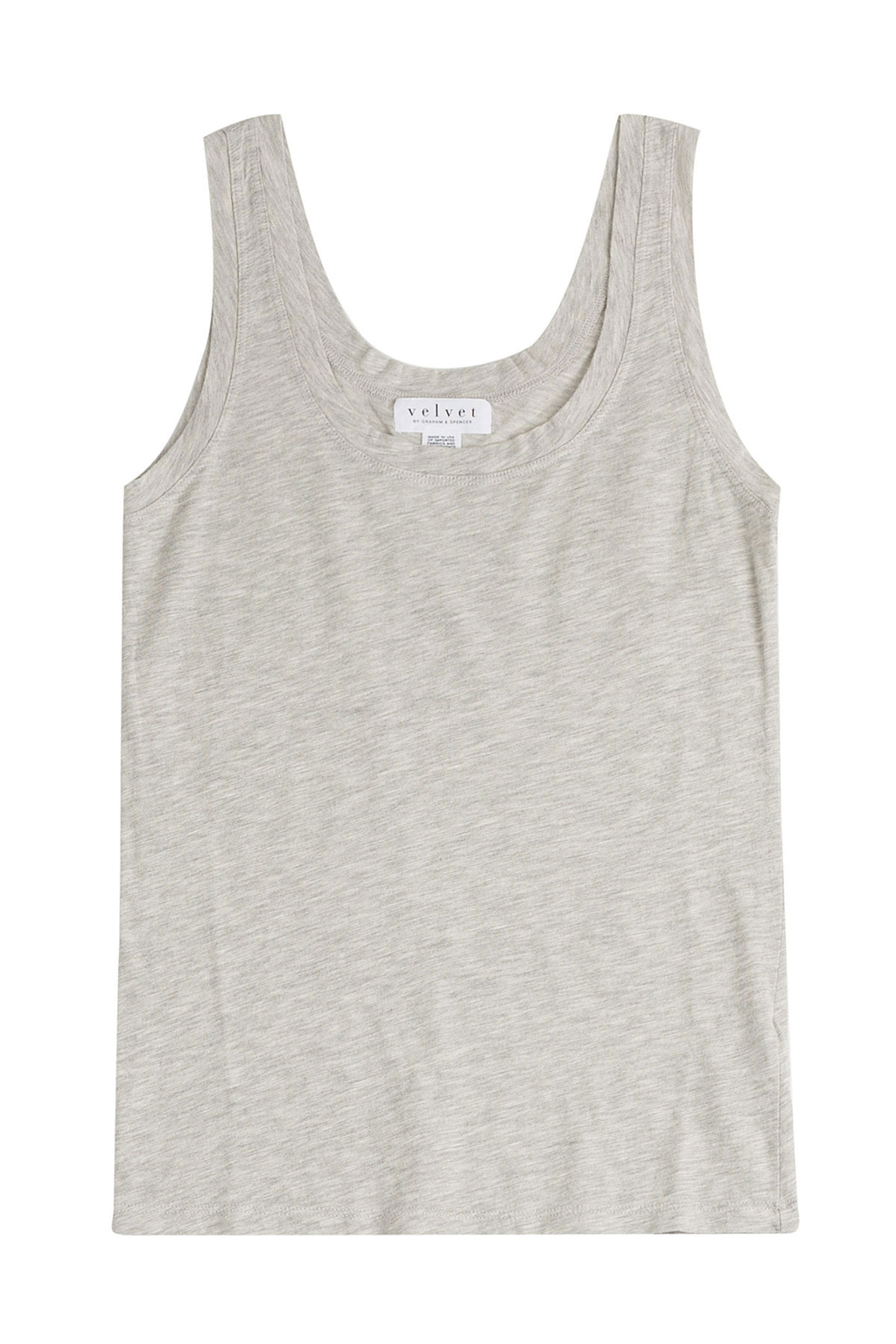 Cotton Blend Tank - sleeve style: standard vest straps/shoulder straps; pattern: plain; style: vest top; back detail: back revealing; predominant colour: mid grey; occasions: casual, creative work; length: standard; neckline: scoop; fibres: cotton - stretch; fit: body skimming; sleeve length: sleeveless; pattern type: fabric; texture group: jersey - stretchy/drapey; season: s/s 2016; wardrobe: basic