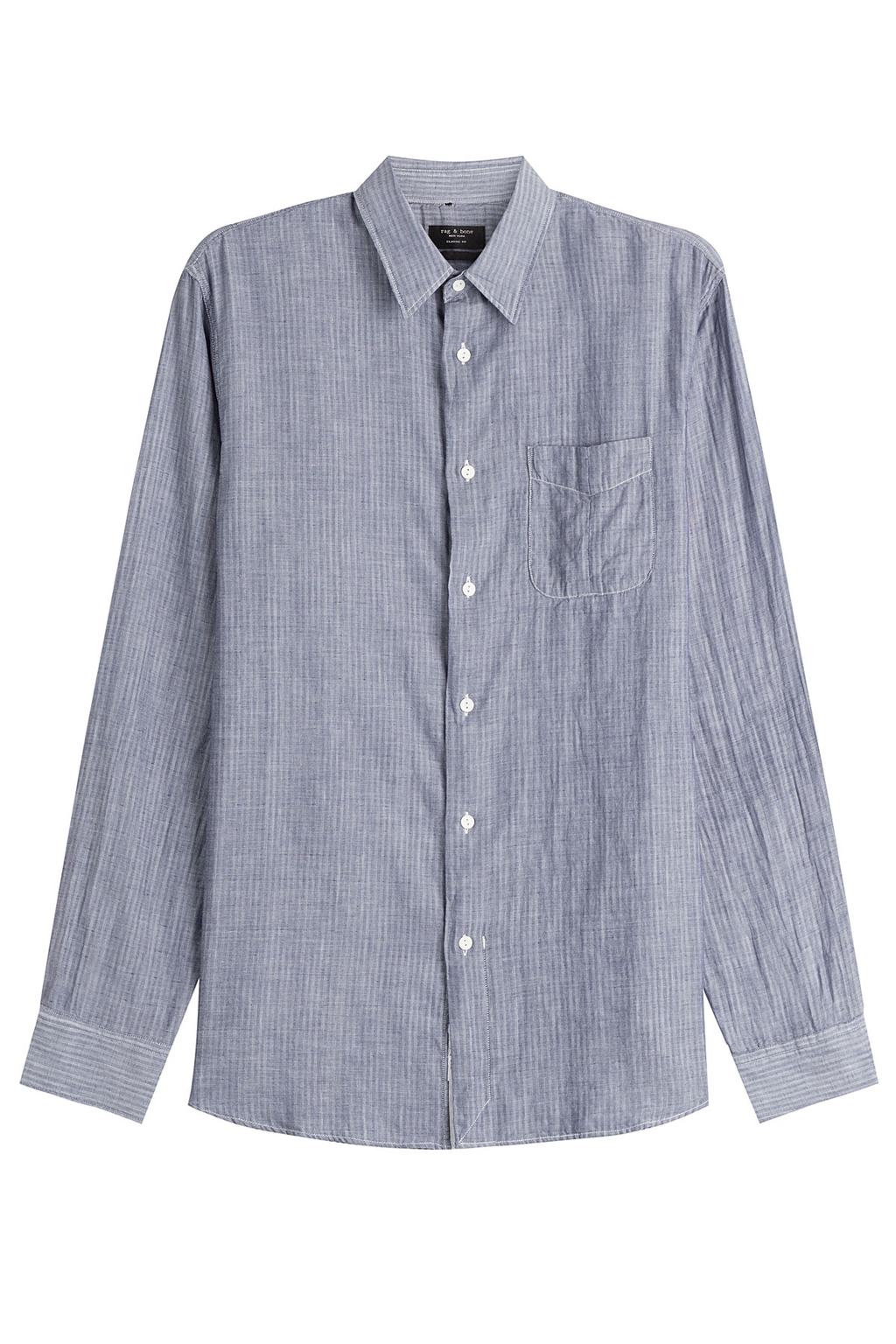 Cotton Shirt - neckline: shirt collar/peter pan/zip with opening; style: shirt; predominant colour: mid grey; occasions: casual, creative work; length: standard; fibres: cotton - 100%; fit: body skimming; sleeve length: long sleeve; sleeve style: standard; texture group: cotton feel fabrics; pattern type: fabric; pattern size: standard; pattern: patterned/print; season: s/s 2016; wardrobe: highlight