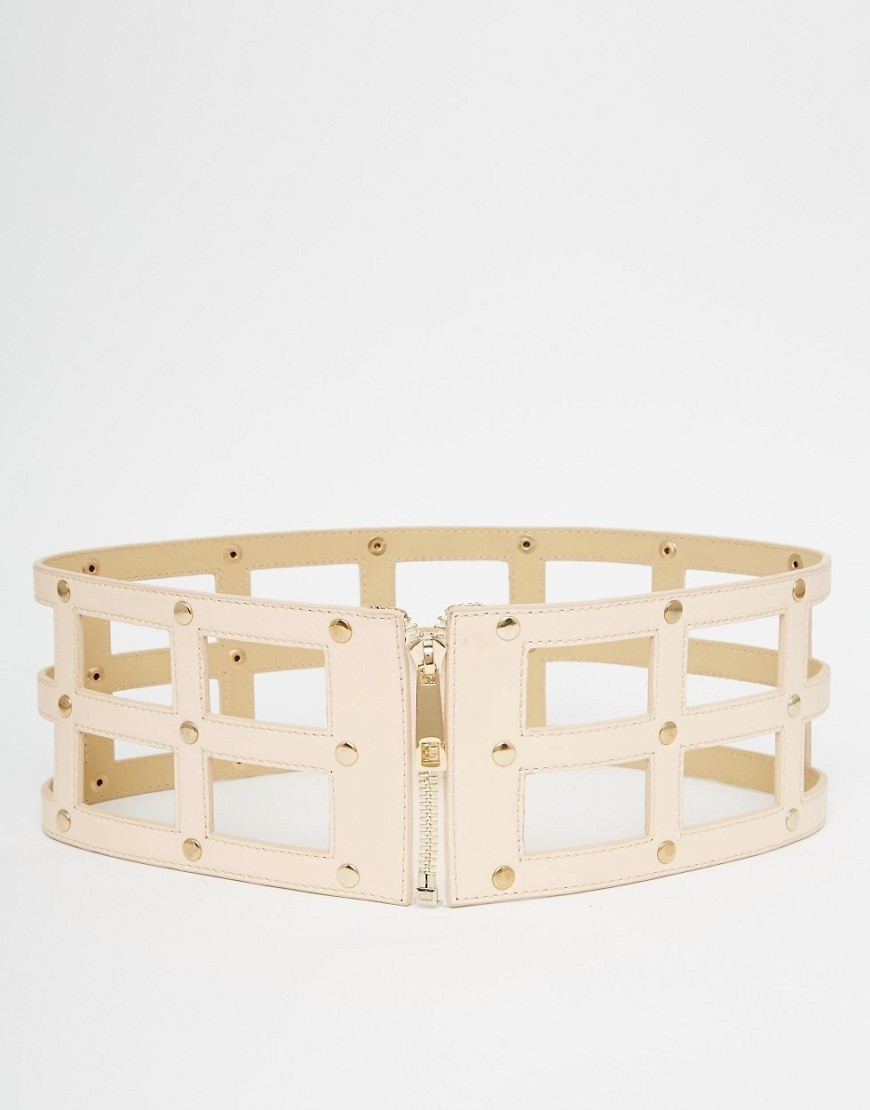 Caged Belt With Zip Fastening Nude - predominant colour: nude; occasions: casual, creative work; type of pattern: standard; style: cummerbund; size: oversized; worn on: waist; material: faux leather; pattern: plain; finish: plain; season: s/s 2016