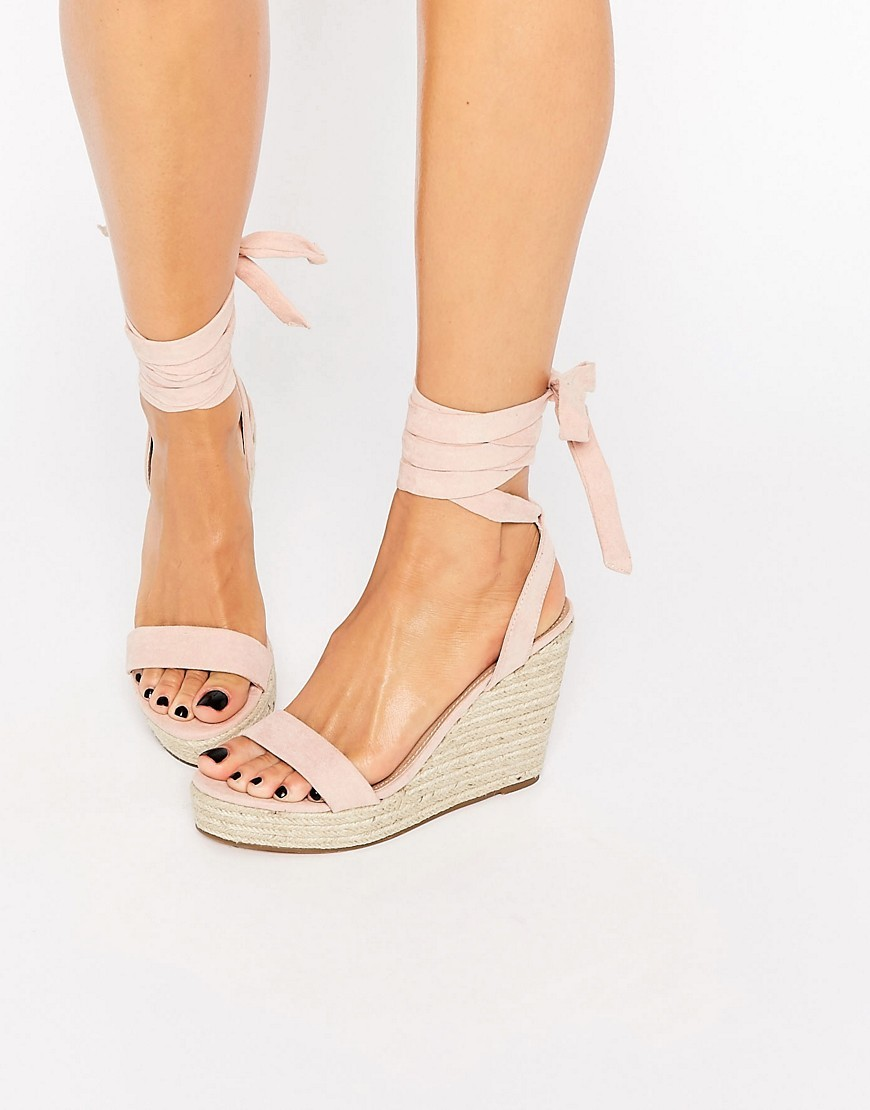 Talent Tie Leg Wedge Sandals Apricot - predominant colour: blush; occasions: casual, holiday; material: fabric; heel height: high; ankle detail: ankle tie; heel: wedge; toe: open toe/peeptoe; style: standard; finish: plain; pattern: plain; shoe detail: platform; season: s/s 2016; wardrobe: investment