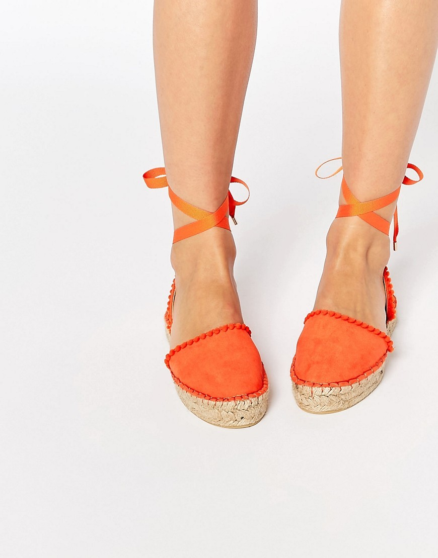 Pom Pom Espadrille Orange - predominant colour: bright orange; secondary colour: stone; occasions: casual, holiday; material: fabric; heel height: flat; ankle detail: ankle strap; toe: round toe; finish: plain; pattern: colourblock; style: espadrilles; season: s/s 2016; wardrobe: highlight