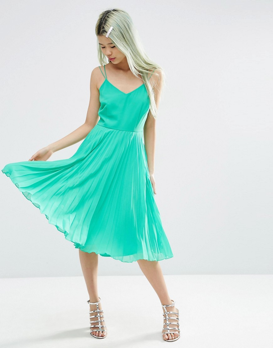 Strappy Midi Dress With Pleated Skirt Green - length: below the knee; neckline: low v-neck; sleeve style: spaghetti straps; pattern: plain; style: sundress; predominant colour: mint green; fit: body skimming; fibres: polyester/polyamide - 100%; occasions: occasion; sleeve length: sleeveless; pattern type: fabric; texture group: other - light to midweight; season: s/s 2016; wardrobe: event