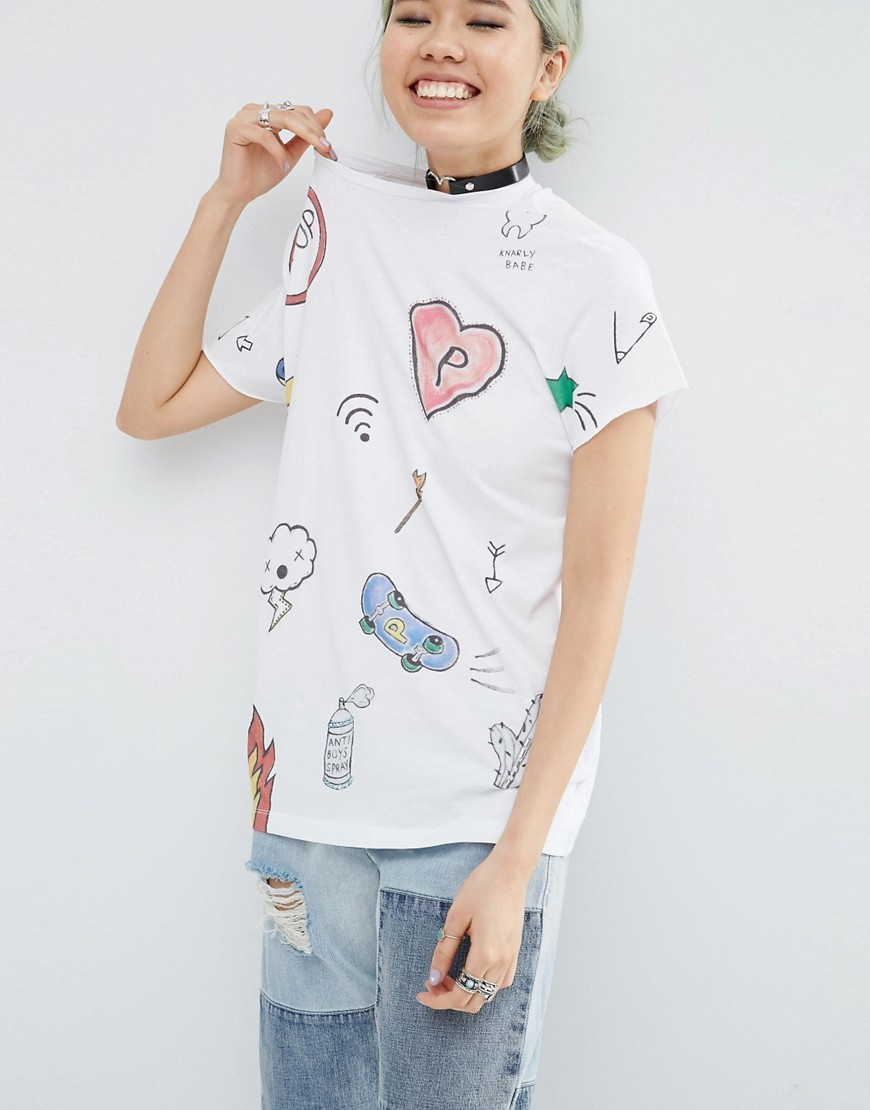 X Phiney Pet T Shirt With Drawn Print And Stud Detail Multi - neckline: round neck; style: t-shirt; predominant colour: white; occasions: casual; length: standard; fibres: cotton - 100%; fit: body skimming; sleeve length: short sleeve; sleeve style: standard; pattern type: fabric; pattern size: standard; pattern: patterned/print; texture group: jersey - stretchy/drapey; multicoloured: multicoloured; season: s/s 2016