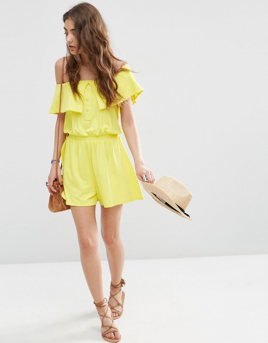 Off Shoulder Bandeau Playsuit With Buttons Yellow - neckline: off the shoulder; sleeve style: angel/waterfall; fit: fitted at waist; pattern: plain; length: short shorts; predominant colour: yellow; occasions: casual; fibres: viscose/rayon - stretch; sleeve length: short sleeve; style: playsuit; bust detail: bulky details at bust; pattern type: fabric; texture group: other - light to midweight; season: s/s 2016; wardrobe: highlight