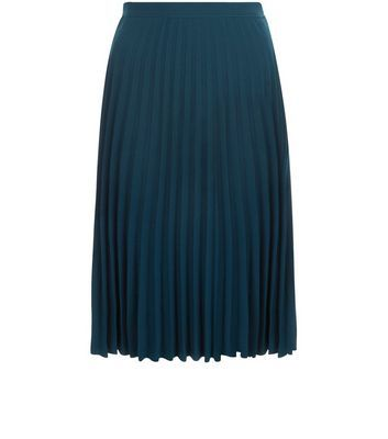 Green Pleated Midi Skirt - length: below the knee; pattern: plain; fit: body skimming; style: pleated; waist: high rise; predominant colour: navy; occasions: work; fibres: polyester/polyamide - stretch; pattern type: fabric; texture group: other - light to midweight; season: s/s 2016; wardrobe: basic