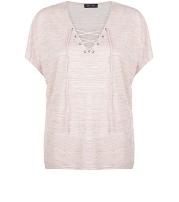 Mid Pink Fine Knit Lace Up Top - neckline: v-neck; sleeve style: capped; pattern: plain; length: below the bottom; style: t-shirt; predominant colour: pink; occasions: casual, creative work; fit: loose; sleeve length: short sleeve; pattern type: fabric; texture group: jersey - stretchy/drapey; fibres: viscose/rayon - mix; season: s/s 2016; wardrobe: highlight