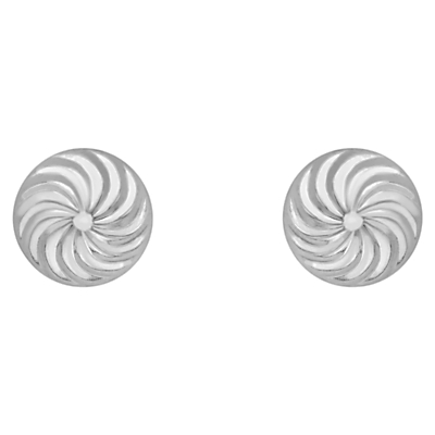 9ct Gold Swirl Detail Dome Stud Earrings - predominant colour: silver; style: stud; length: short; size: small/fine; material: chain/metal; fastening: pierced; finish: metallic; occasions: creative work; season: a/w 2015; wardrobe: basic