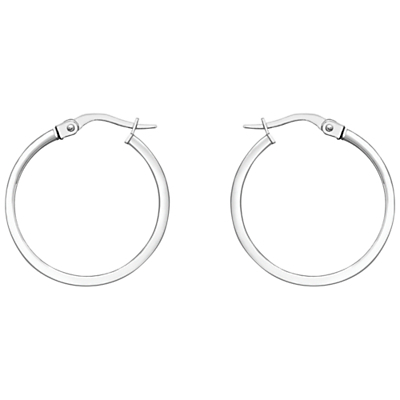 18ct White Gold Rectangular Tube Creole Earrings, White Gold - predominant colour: silver; occasions: casual, creative work; style: hoop; length: mid; size: standard; material: chain/metal; fastening: pierced; finish: metallic; season: a/w 2015; wardrobe: basic
