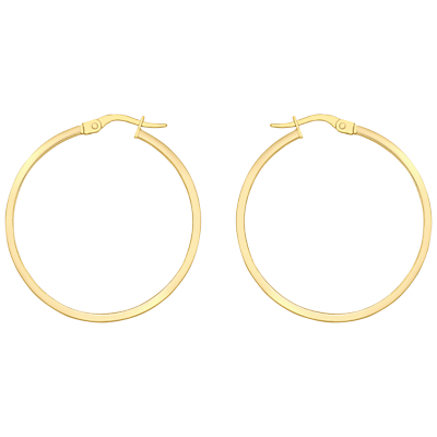 18ct Yellow Gold Rectangular Tube Creole Earrings, Yellow Gold - predominant colour: gold; occasions: casual, work, creative work; style: hoop; length: mid; size: standard; material: chain/metal; fastening: pierced; finish: metallic; season: a/w 2015