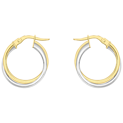 18ct Gold Two Colour Double Tube Creole Earrings, Gold/White Gold - predominant colour: gold; occasions: casual, work, creative work; style: hoop; length: mid; size: standard; material: chain/metal; fastening: pierced; finish: metallic; season: a/w 2015; wardrobe: basic