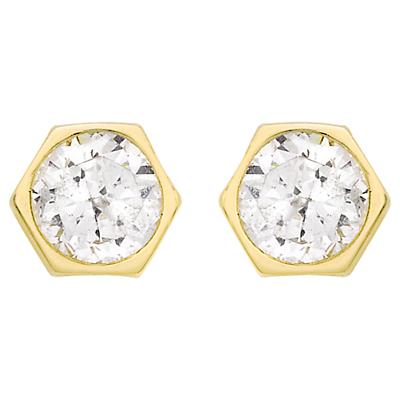 9ct Gold Hexagonal Cubic Zirconia Stud Earrings, Gold - predominant colour: gold; occasions: evening, creative work; style: stud; length: short; size: small/fine; material: chain/metal; fastening: pierced; finish: metallic; embellishment: crystals/glass; secondary colour: clear; season: a/w 2015; wardrobe: basic
