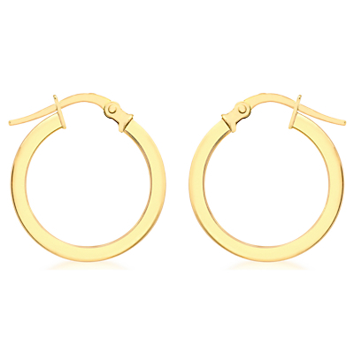 9ct Yellow Gold Creole Leverback Hoop Earrings, Gold - predominant colour: gold; occasions: casual, work, creative work; style: hoop; length: mid; size: standard; material: chain/metal; fastening: pierced; finish: metallic; season: a/w 2015; wardrobe: basic