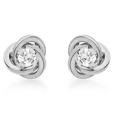 9ct White Gold Cubic Zirconia Knot Stud Earrings, White Gold - predominant colour: silver; occasions: evening, work, occasion; style: stud; length: short; size: standard; material: chain/metal; fastening: pierced; finish: metallic; embellishment: crystals/glass; season: a/w 2015; wardrobe: basic