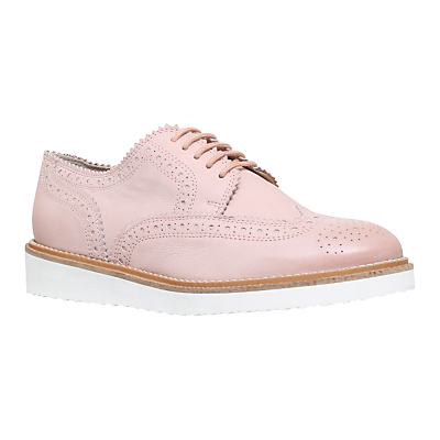 Knox Mid Wedge Heeled Brogues - secondary colour: white; predominant colour: blush; occasions: casual, creative work; material: leather; heel height: flat; toe: round toe; style: brogues; finish: metallic; pattern: plain; season: s/s 2016; wardrobe: basic