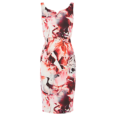 Berlin Print Amena Dress, Multi - style: shift; sleeve style: standard vest straps/shoulder straps; fit: tailored/fitted; neckline: sweetheart; predominant colour: blush; secondary colour: coral; occasions: evening, occasion; length: on the knee; fibres: polyester/polyamide - stretch; sleeve length: sleeveless; pattern type: fabric; pattern size: big & busy; pattern: florals; texture group: woven light midweight; multicoloured: multicoloured; season: s/s 2016; wardrobe: event