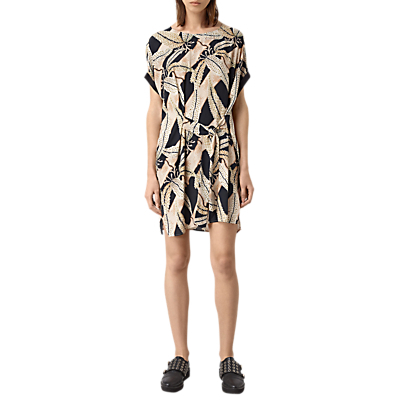 Sonny Fuji Dress, Black - style: t-shirt; length: mid thigh; neckline: round neck; waist detail: belted waist/tie at waist/drawstring; predominant colour: nude; secondary colour: black; occasions: casual, creative work; fit: straight cut; fibres: silk - 100%; sleeve length: short sleeve; sleeve style: standard; pattern type: fabric; pattern size: big & busy; pattern: patterned/print; texture group: woven light midweight; multicoloured: multicoloured; season: s/s 2016