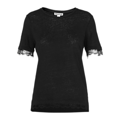 Lace Trim Linen T Shirt, Black - pattern: plain; style: t-shirt; predominant colour: black; occasions: casual, creative work; length: standard; fibres: linen - 100%; fit: body skimming; neckline: crew; sleeve length: short sleeve; sleeve style: standard; texture group: jersey - clingy; pattern type: fabric; embellishment: lace; season: s/s 2016; wardrobe: highlight