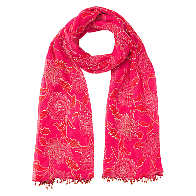 Anokhi Chandhi Scarf, Pink - secondary colour: white; predominant colour: hot pink; occasions: casual, creative work; type of pattern: standard; style: regular; size: standard; embellishment: fringing; pattern: florals; material: cashmere; season: s/s 2016; wardrobe: highlight