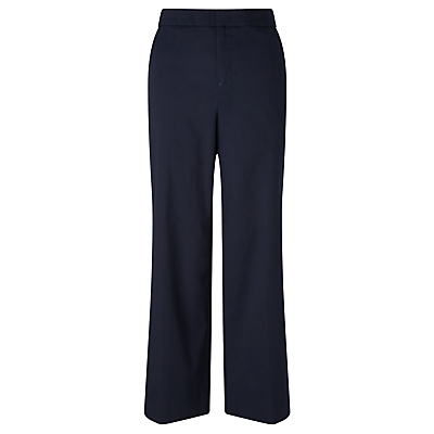 Wide Leg Crop Trousers, Navy - length: standard; pattern: plain; style: palazzo; waist: mid/regular rise; predominant colour: navy; fibres: cotton - stretch; waist detail: feature waist detail; texture group: cotton feel fabrics; fit: wide leg; pattern type: fabric; occasions: creative work; season: s/s 2016; wardrobe: basic