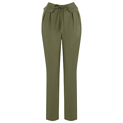 Premium Casual Trousers, Dark Green - pattern: plain; style: peg leg; waist: high rise; waist detail: belted waist/tie at waist/drawstring; predominant colour: khaki; occasions: casual, creative work; length: ankle length; fibres: viscose/rayon - 100%; texture group: crepes; fit: tapered; pattern type: fabric; season: s/s 2016