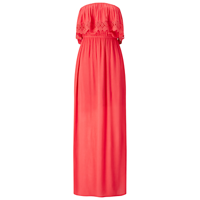 Bandeau Maxi Dress - neckline: strapless (straight/sweetheart); fit: fitted at waist; pattern: plain; style: maxi dress; sleeve style: strapless; length: ankle length; waist detail: elasticated waist; predominant colour: coral; fibres: viscose/rayon - 100%; hip detail: soft pleats at hip/draping at hip/flared at hip; sleeve length: sleeveless; occasions: holiday; bust detail: tiers/frills/bulky drapes/pleats; pattern type: fabric; texture group: other - light to midweight; embellishment: lace; season: s/s 2016; wardrobe: holiday